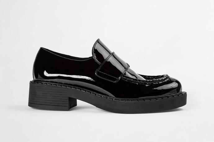 "Corvette Black Patent Loafers, $199.95 by [Tony Bianco](https://www.tonybianco.com/collections/loafers/products/corvette-black-patent-casual-shoes#ImageWrapper-5|target=""_blank""