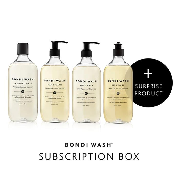 "**Bondi Wash**<br><br> If you're always on the hunt for a fresh scent, look no further than Bondi Wash's subscription boxes. Delivered to you every one, two or three months, the box contains Bondi Wash's best-sellers, including a 'surprise' item. Each delivery offers a different product to introduce new or longer lasting items like their Mist Spray, Glass Spray or Bench Spray into the subscription service.<br><br> *Available at [Bondi Wash](https://bondiwash.com.au/products/subscription-box|target=""_blank""
