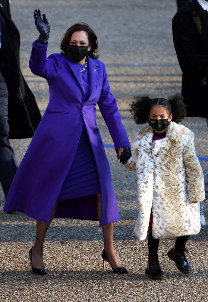 Vice President Kamala Harris walks the abbreviated parade route with her great niece Amara after U.S. President Joe Biden's inauguration on January 20, 2021 in Washington, DC.