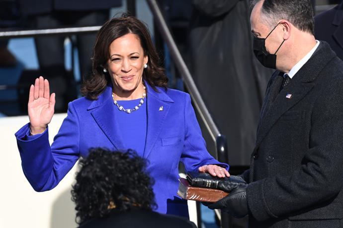 U.S. Vice President-elect Kamala Harris is sworn in during the 59th presidential inauguration in Washington, D.C., U.S., on Wednesday, Jan. 20, 2021.