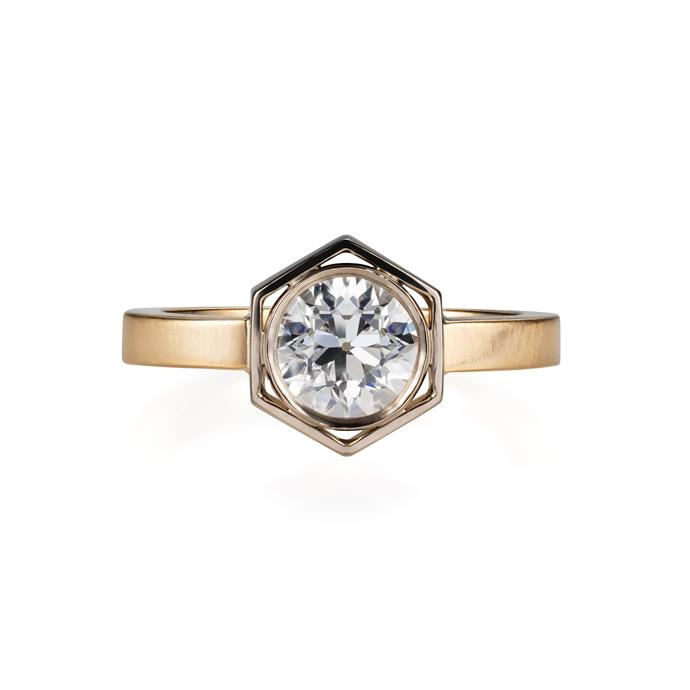"Handmade bespoke ring of mixed white and yellow gold with a central old cut white diamond, price on request, by [Liv Luttrell](https://livluttrell.com/bespoke|target=""_blank""