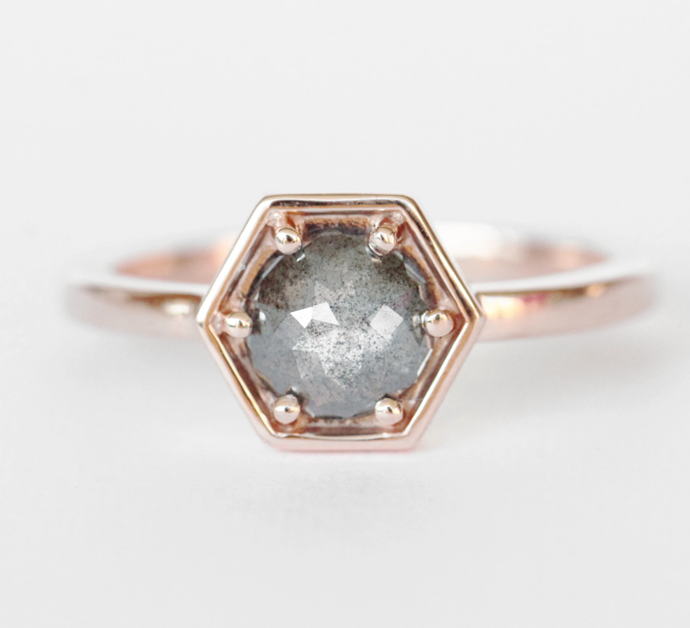 "Rhetta Ring with a .70 ct Celestial Diamond in 10k Rose Gold, $2,100 by [Midwinter Co](https://fave.co/3o8wmYw|target=""_blank""