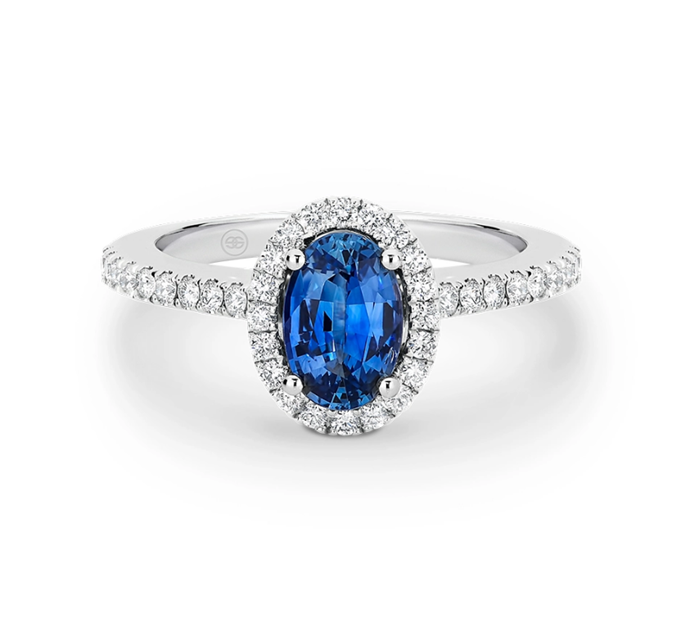 "Sapphire and diamond halo engagement ring, $8,850 by [Gregory Jewellers](https://www.gregoryjewellers.com.au/product/oval-ceylon-sapphire-and-diamond-halo-diamond-engagement-ring-a2283/|target=""_blank""
