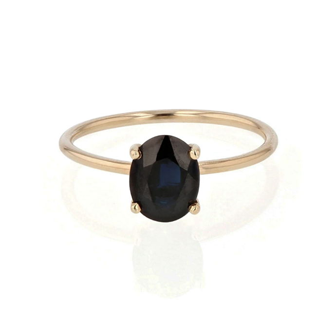 "Oval pin ring with sapphire in claw setting, $1,600 by [Sarah & Sebastian](https://www.sarahandsebastian.com/products/oval-pin-ring-sapphire?_pos=4&_sid=3fd189bc6&_ss=r|target=""_blank""