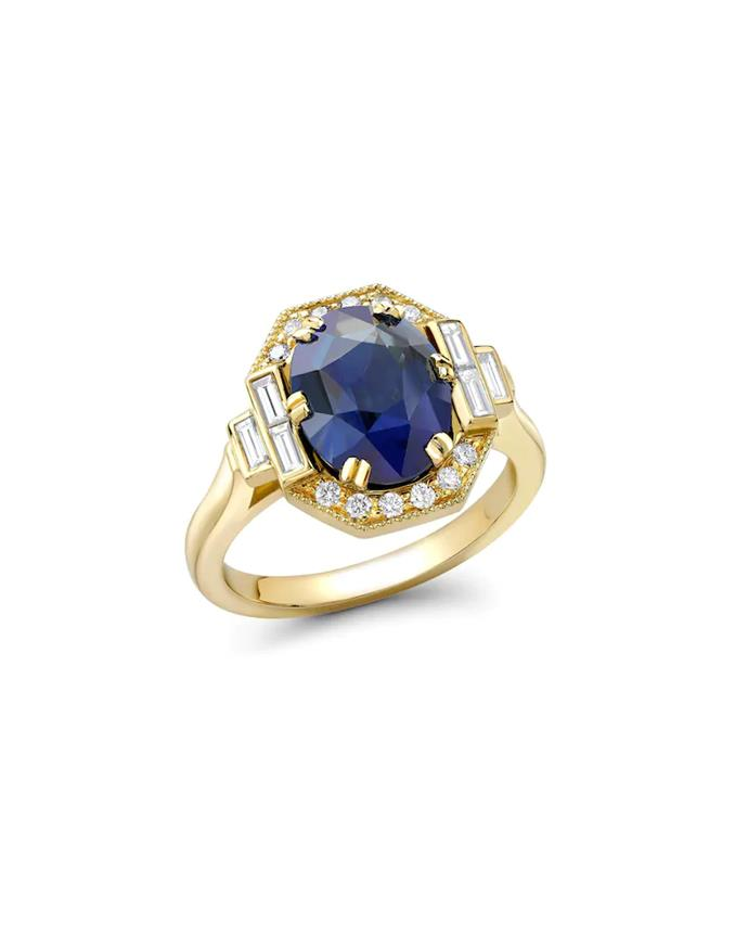 "'Sarah' 18ct yellow gold sapphire engagement ring with octagon shaped halo and baguette cut diamonds by [Emma Clarkson Webb](https://www.emmacwebb.com/engagement#/sarah/|target=""_blank""