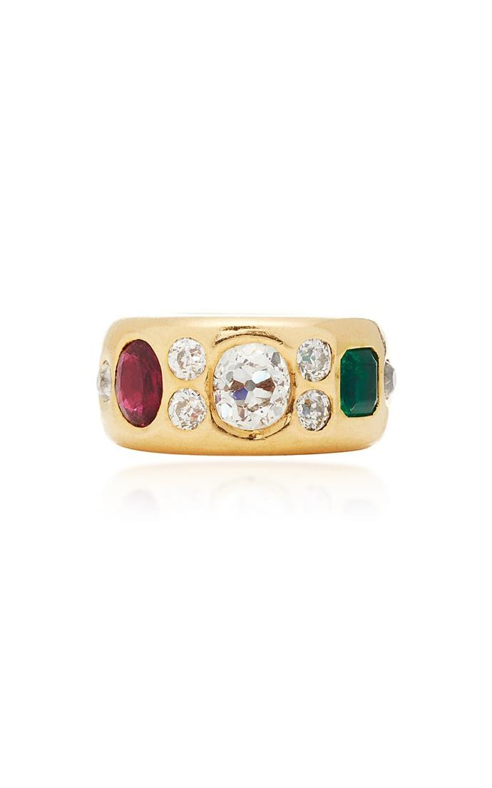 "A ruby, emerald and diamond band 'Gypsy' ring set in a wide gold band by Simon Teakle, $27,640 at [Moda Operandi](https://magazine.modaoperandi.com/simon-teakle-r20/gypsy-ring|target=""_blank"")"