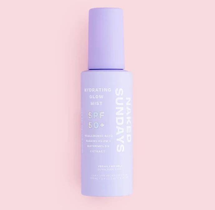 "'SPF 50+ Hydrating Glow Mist', $39.95 at [Naked Sundays](https://nakedsundays.com/products/spf-50-hydrating-glow-mist|target=""_blank""|rel=""nofollow"")."