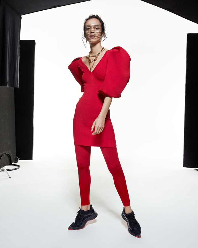 """Puff sleeve dress in red, $2,350 at [AZ Factory](https://www.azfactory.com/products/my-body-puff-sleeve-dress-red
