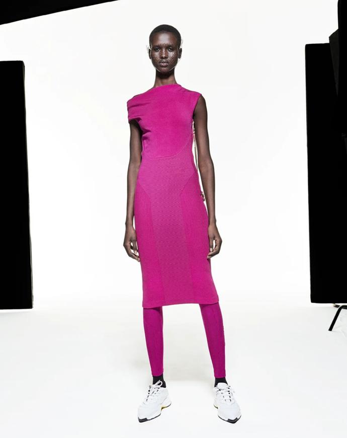 "Asymmetric Twist Dress in fuschia, $1,950 at [AZ Factory](https://www.azfactory.com/products/mybody-asymmetric-twist-dress-fuschia|target=""_blank""|rel=""nofollow"")"