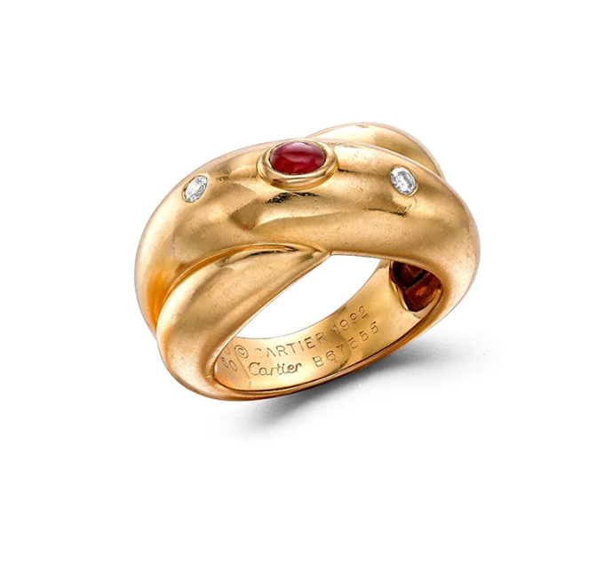 "1961 pre-owned 18kt yellow gold Gypsy three-stone ring by Cartier, $6,564 from [Farfetch](https://www.farfetch.com/au/shopping/women/cartier-1961-pre-owned-18kt-yellow-gold-gypsy-three-stone-ring-item-16097107.aspx?storeid=13333|target=""_blank""