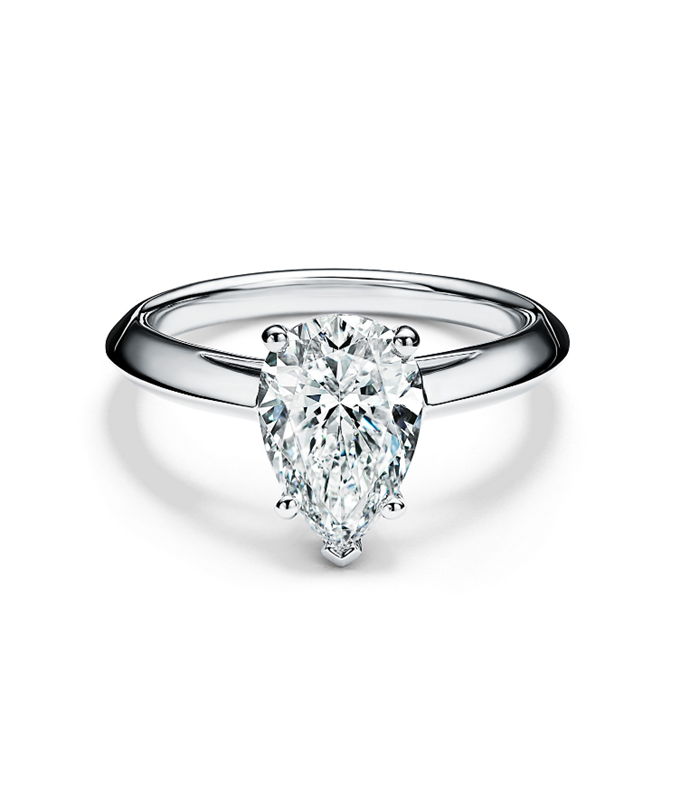 "Pear-shaped diamond engagement ring in platinum by [Tiffany & Co.](https://www.tiffany.com.au/engagement/engagement-rings/pear-shaped-diamond-engagement-ring-in-platinum-GRP10894/|target=""_blank""