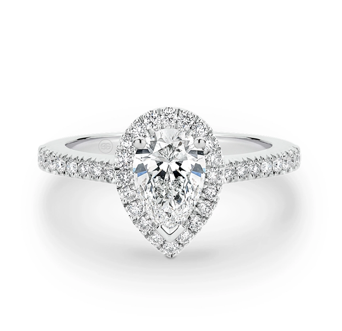 "Pear shape halo diamond engagement ring, starting price $10,460 at [Gregory Jewellers](https://www.gregoryjewellers.com.au/product/precious-pear-shape-diamond-halo-engagement-ring-a2207/|target=""_blank""