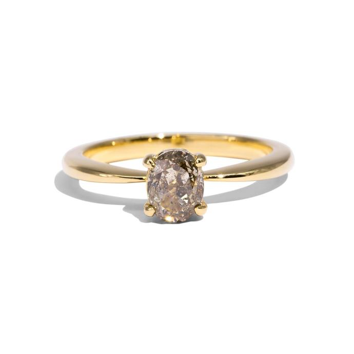 "'The Sara' solitaire salt and pepper diamond ring with 18ct gold band, $3,400 at [Molten Store](https://www.moltenstore.com/products/the-sara-solitaire-salt-pepper-diamond-ring-18ct-yellow-gold|target=""_blank""