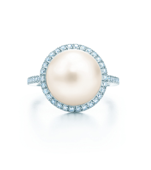 "Pearl ring on a platinum band with round diamonds, $9,700 by [Tiffany & Co.](https://www.tiffany.com.au/jewelry/rings/tiffany-south-sea-noble-pearl-ring-GRP07213/|target=""_blank""
