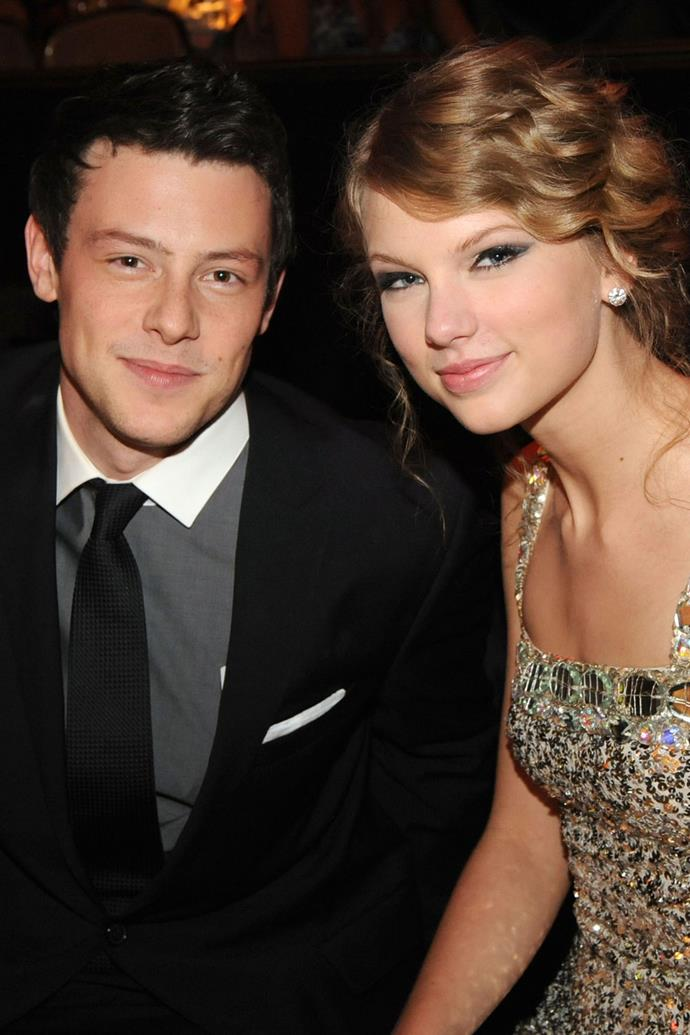 """**Cory Monteith (2010)** <br><br> Though Taylor and the *Glee* star never officially confirmed they were dating, the two were photographed together on many occasions. Taylor also clearly blushed when asked if the two had dated on *The Ellen DeGeneres Show*. On the day of Cory's tragic death in July 2013, Taylor tweeted: """"Speechless. And for the worst reason."""""""