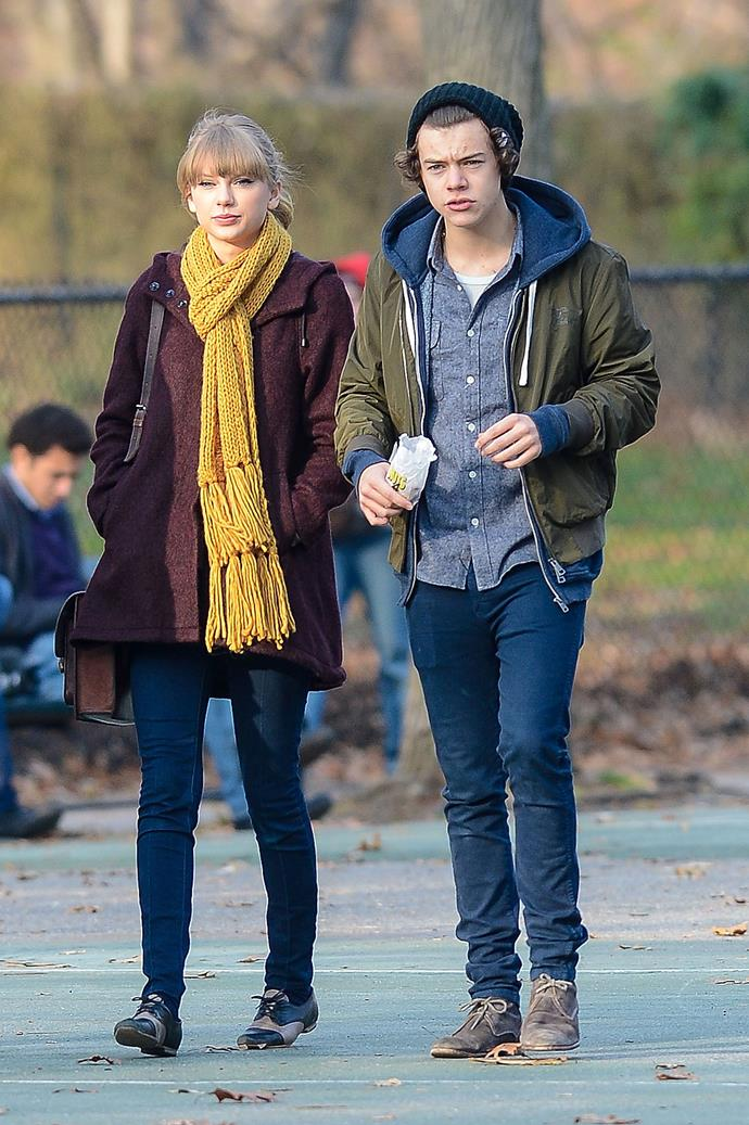 """**Harry Styles (2012-2013)** <br><br> One of Taylor's most divisive relationships to date. The couple, despite only dating for a month, shared paper aeroplane necklaces, strolled through Central Park, kissed in Times Square on New Year's Eve and even got in a snowmobile accident.  <br><br> """"I Knew You Were Trouble"""" is about the One Direction heartthrob. Taylor's album *1989* is also filled with subtle references to Harry, especially """"Out Of The Woods"""" with its lyrical references to their December romance and the accident, and """"Style"""" which is fairly self-explanatory."""
