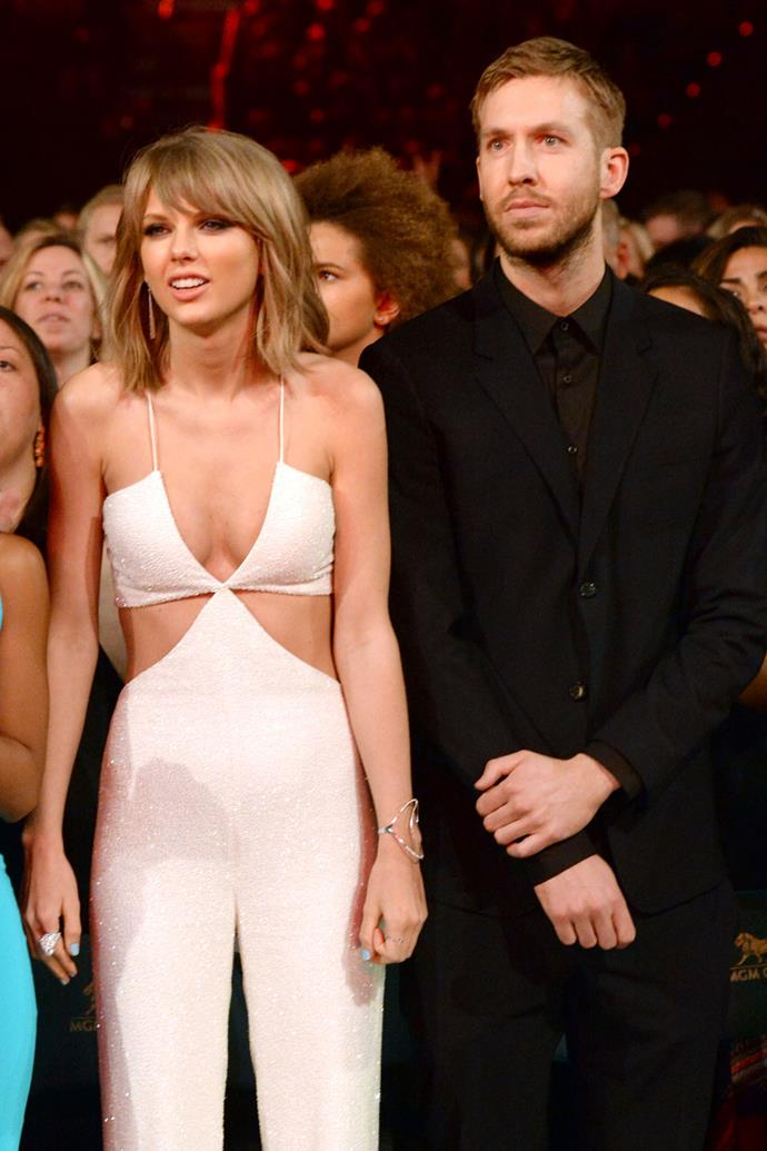 """**Calvin Harris (2015-2016)** <br><br> Taylor and Harris shared a fairly long romance and was her most well-documented. The couple would regularly appear on red carpets together and post images to their social media pages. Multiple reports claim that it was Calvin who wanted to break up.  <br><br> While neither have ever commented on it, Taylor's hit """"We Are Never Ever Ever Getting Back Together"""" was presumed to be about Calvin. However, many Swift fans remain confident this is about Gyllenhaal."""