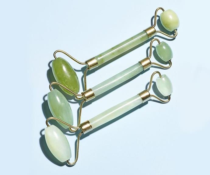 """***Out: Jade Rollers***<br><br>  To be clear, we don't really think [jade rollers](https://www.elle.com.au/beauty/do-jade-rollers-actually-work-15808 target=""""_blank"""") or even [gua sha](https://www.elle.com.au/beauty/do-gua-sha-tools-actually-work-18212 target=""""_blank"""") are 'leaving' in 2021, just that as skinmalism rises, we'll see tools take more of a backseat as we take things (literally) into our own hands. What do we mean? Scroll on."""