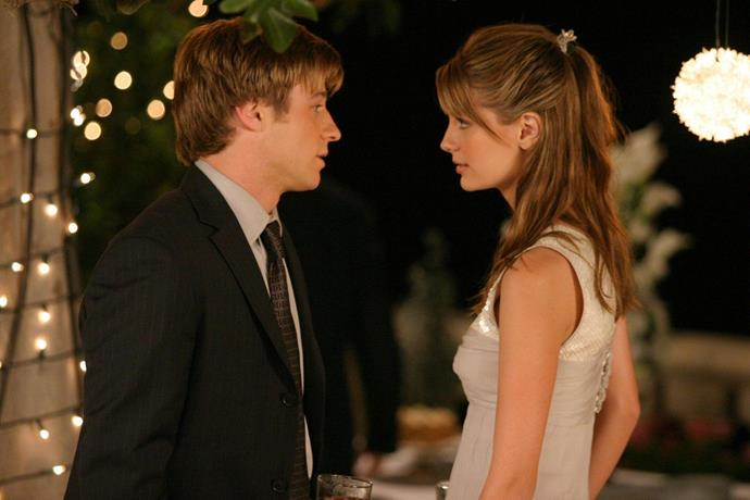 """**Ryan and Marissa from** ***The O.C.***<br><br>  Look, there's no denying that Ryan and Marissa weren't great for each other. However, in our teenage eyes at the time, they did have that hot, young, all-consuming love that we all low-key aspired to (even though as adults we know much better!). It was apparent from the start, with their chemistry, that they were meant to be together, but when Ryan's ex Teresa became pregnant, Marissa sacrificed her happiness and their relationship, telling Ryan to go and support her. And just to drive the dagger into our heart, they shared a last dance at Julie and Caleb's wedding to """"Maybe I'm Amazed"""" and left us all in a puddle of our own teenage tears."""