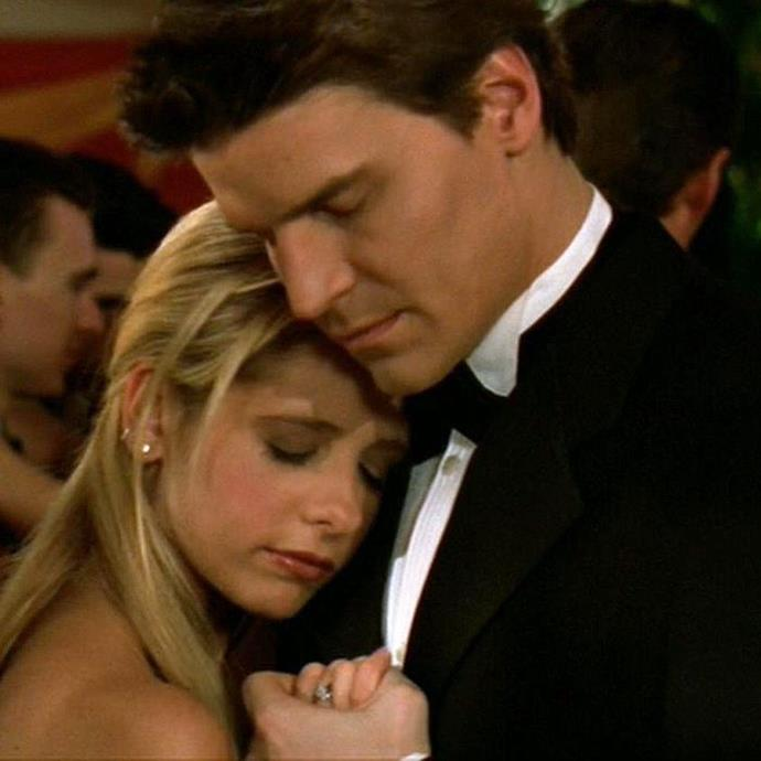 """**Buffy and Angel from** ***Buffy theVampire Slayer***<br><br>  While their breakup was better for the characters and the series, that didn't really make watching the demise of Buffy and Angel any easier. Him leaving in season three so she could lead a normal dating life was a heart-wrenching choice, and one that left viewers shooketh, thanks to David Boreanaz and Sarah Michelle Gellar's acting prowess. Plus, that dance to """"Wild Horses"""" at the prom? We can't."""