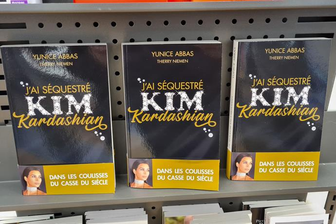 Copies of the book 'J'ai Séquestré Kim Kardashian' written by thief who robbed Kim Kardashian in Paris at gunpoint in 2016 are displayed in a bookstore on February 04, 2021 in Ormesson, France.