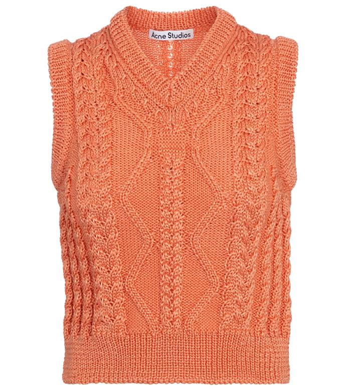 """Cable-knit sweater vest by Acne Studios, $590 at [Mytheresa](https://go.skimresources.com?id=105419X1569491&xs=1&url=https%3A%2F%2Fwww.mytheresa.com%2Fen-au%2Facne-studios-cable-knit-sweater-vest-1744433.html target=""""_blank"""" rel=""""nofollow"""")"""