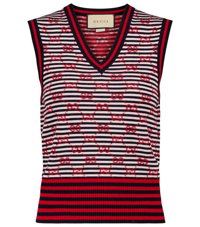 "GG jacquard wool sweater vest by Gucci, $1,205 at [Mytheresa](https://go.skimresources.com?id=105419X1569491&xs=1&url=https%3A%2F%2Fwww.mytheresa.com%2Fen-au%2Fgucci-gg-jacquard-striped-wool-sweater-vest-1733973.html target=""_blank"" rel=""nofollow"")"