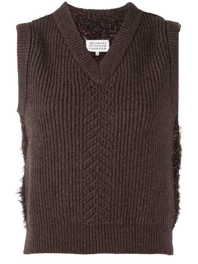 "Wool mix sweater vest by Maison Margiela, $1,306, currently on sale for $653 at [Farfetch](https://go.skimresources.com?id=105419X1569491&xs=1&url=https%3A%2F%2Fwww.farfetch.com%2Fau%2Fshopping%2Fwomen%2Fmaison-margiela-wool-mix-sweater-vest-item-15613330.aspx%3Fstoreid%3D10321 target=""_blank"" rel=""nofollow"")"