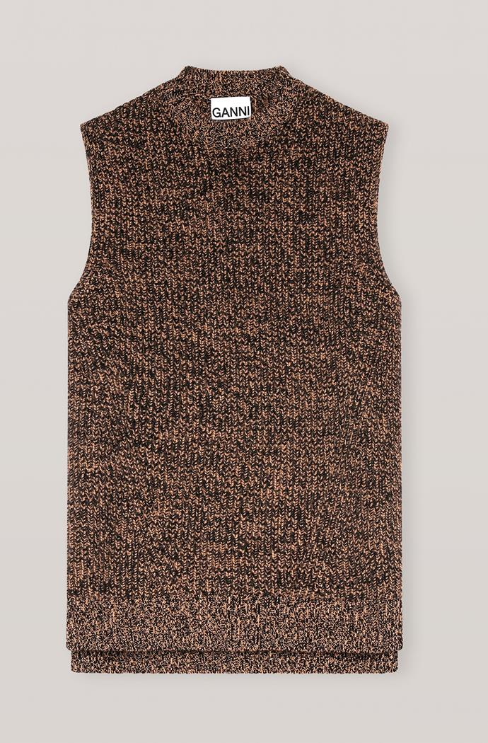 "Cashmere mix vest, $445 at [Ganni](https://go.skimresources.com?id=105419X1569491&xs=1&url=https%3A%2F%2Fwww.ganni.com%2Fen-au%2Fcashmere-mix-vest-K1494.html%3Fdwvar_K1494_color%3DTiger%2527s%2520Eye target=""_blank"" rel=""nofollow"")"