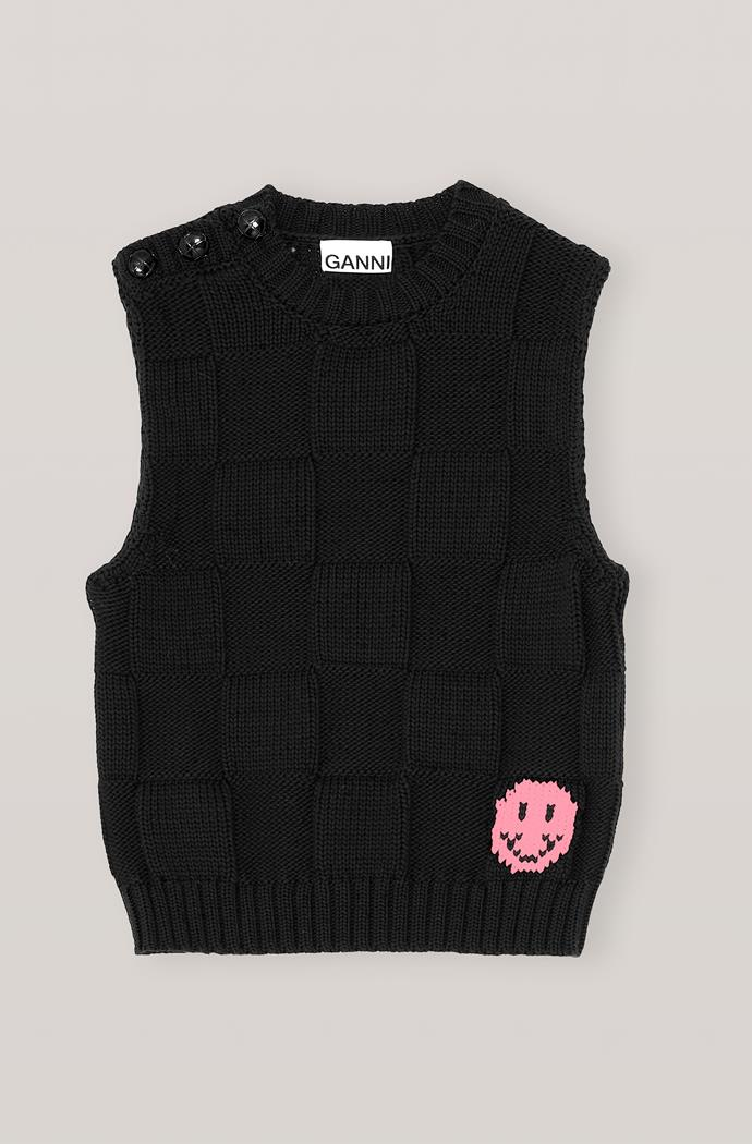 "Cotton robe knit vest in black, $345 at [Ganni](https://go.skimresources.com?id=105419X1569491&xs=1&url=https%3A%2F%2Fwww.ganni.com%2Fen-au%2Fcotton-robe-knit-vest-K1443.html%3Fdwvar_K1443_color%3DBlack%26quantity%3D1 target=""_blank"" rel=""nofollow"")"