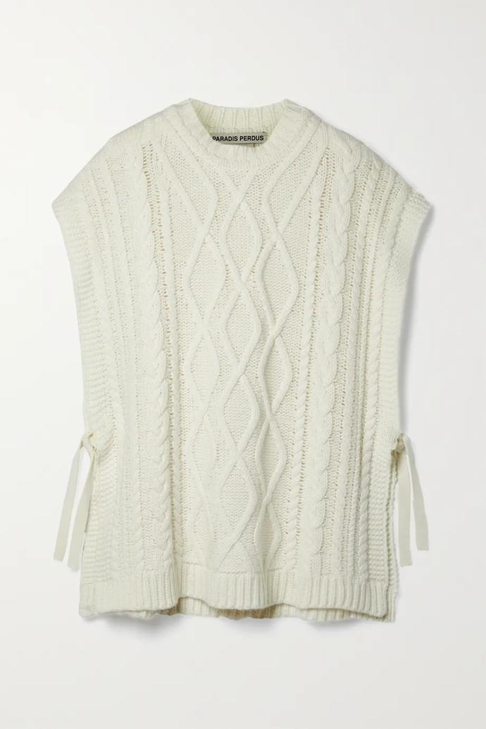 """Vasco cable-knit recycled merino wool-blend poncho by Paradis Perdus, $740.77 at [NET-A-PORTER](https://go.skimresources.com?id=105419X1569491&xs=1&url=https%3A%2F%2Fwww.net-a-porter.com%2Fen-au%2Fshop%2Fproduct%2Fparadis-perdus%2Fnet-sustain-vasco-cable-knit-recycled-merino-wool-blend-poncho%2F1321752 target=""""_blank"""" rel=""""nofollow"""")"""