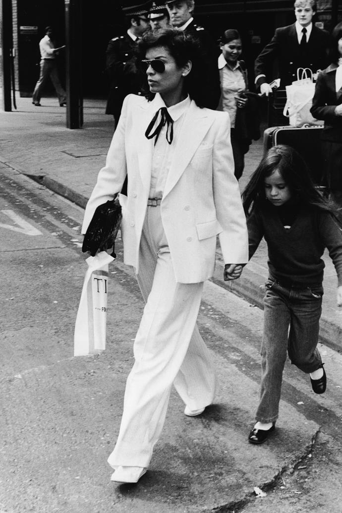 **Menswear suiting**  <br><br> This is another trend that's still huge right now. Throughout the '70s Bianca Jagger cemented her style icon status by rocking sleek tailoring by the likes of Saint Laurent.