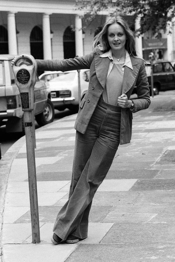 **Corduroy** <br><br> Corduroy was the texture du jour during the decade, and you were most likely to find it covering a pair of flares, a blazer—or both! Twiggy's cool cord suit is eerily similar to the styles we've been seeing on the street lately.
