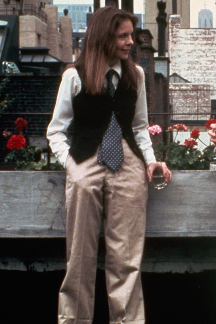 **Vests** <br><br> When it comes to fashion in film, Diane Keaton's Annie Hall outfit is one of the most memorable. Her character wore a vest layered over shirt and tie, but the piece can also be styled sans top underneath for a little more sex appeal.