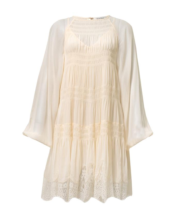 "Dalia Dress, $495 at [Magali Pascal](https://au.magalipascal.com/products/dalia-dress-ecru?_pos=1&_sid=488be825f&_ss=r&variant=33315903930445|target=""_blank""|rel=""nofollow"")"