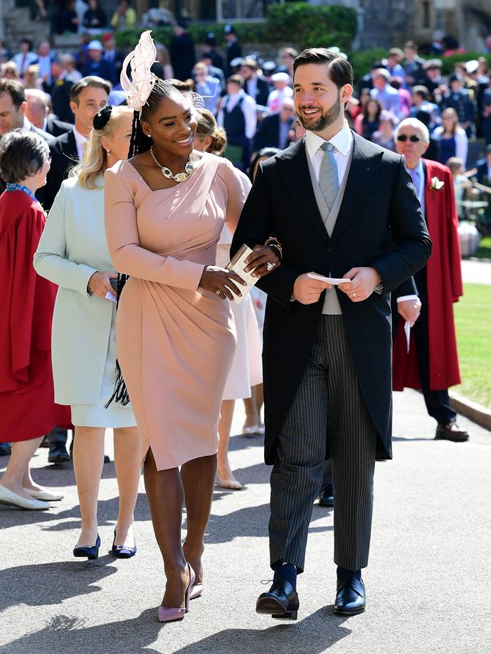 Serena Williams and Alexis Ohanian arriving at the 2018 royal wedding of Meghan Markle and Prince Harry. *Getty*.