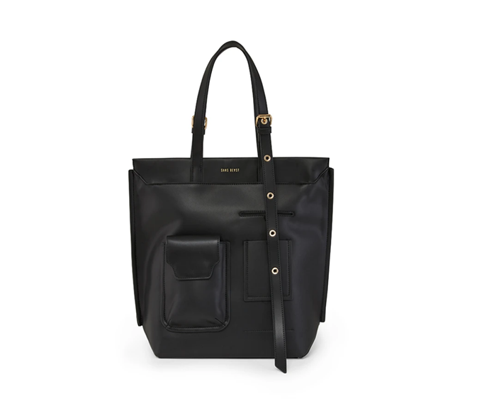 """**Classic Noir Gadget Tote by Sans Beast, $269 at [Sans Beast](https://sansbeast.com/products/classic-noir-gadget-tote