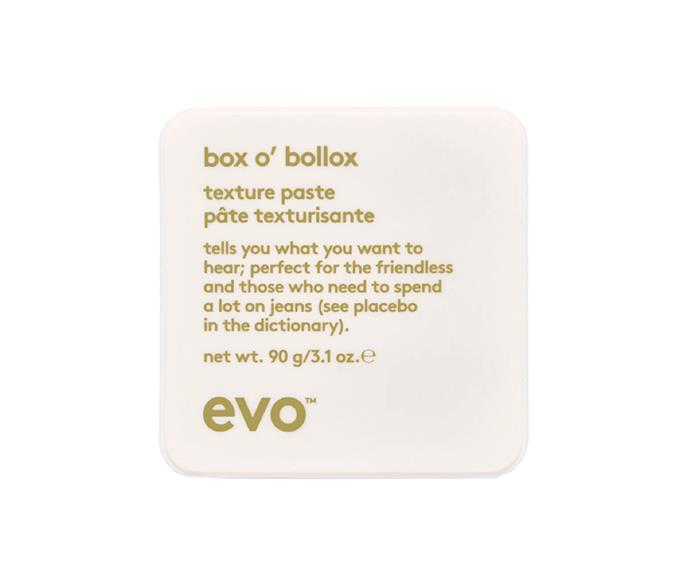 """**box o' bollox life changing paste by evo, $38 at [Adore Beauty](https://go.skimresources.com?id=105419X1569491&xs=1&url=https%3A%2F%2Fwww.adorebeauty.com.au%2Fevo%2Fevo-box-o-bollox-life-changing-paste.html
