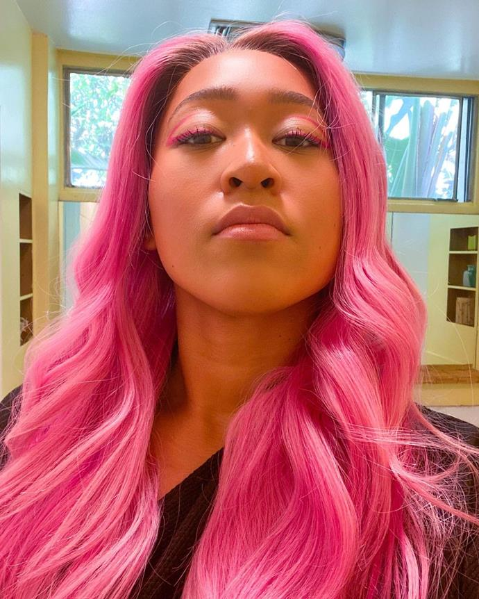 "**Naomi Osaka**<br></br> Naomi Osaka's recently debuted bright pink hair is a stark departure from her recent appearance in [Louis Vuitton's spring/summer 2021](https://www.elle.com.au/fashion/louis-vuitton-spring-summer-2021-campaign-24644|target=""_blank"") campaign. That said, she wears the anime inspired hue (perhaps a wig?) so well that we hope it sticks around."