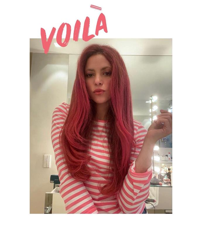 **Shakira**<br></br> Fellow Columbian Shakira has also embraced the pink hair trend, though we imagine she needed a lot more dye to achieve it.