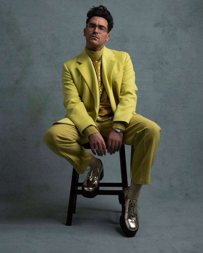 Dan Levy in Valentino Men's Haute Couture.
