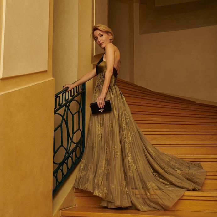 Gillian Anderson in Dior.
