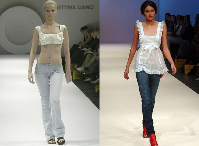 """**Bettina Liano Jeans**<br><br>  Back then, there were 'jeans' and then there were Bettina Liano jeans, and we would have sold a member of our family for the latter. Whether they were the low-rise flared variation of 2001, or the darker washes worn under sheer baby-doll tops (god, remember baby-doll tops?), there was a pair for every occasion (""""Jeans and a nice top"""" being the dress code for most of said occasions)."""