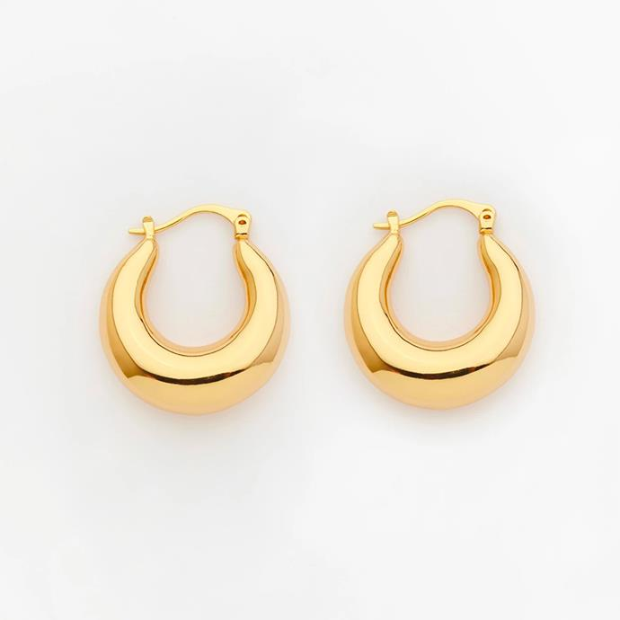 """'Trending Upwards' Gold Hoop Earrings by Reliquia Jewellery, $139 at [The Iconic](https://go.skimresources.com?id=105419X1569491&xs=1&url=https%3A%2F%2Fwww.theiconic.com.au%2Ftrending-upwards-gold-hoop-earrings-774808.html