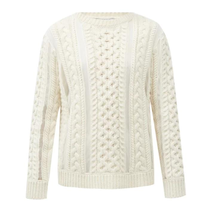 """'Westall' tulle-insert cabled wool-blend sweater by Gabriela Hearst, $1934 at [Matches Fashion](https://fave.co/3cgjifH