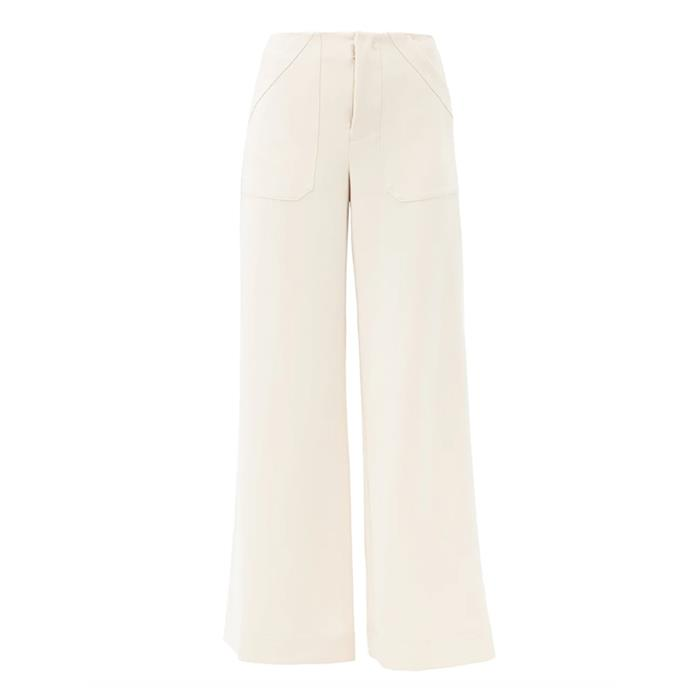 """'Park' wide-leg crepe trousers by STAUD, $363 at [Matches Fashion](https://fave.co/3t2CcgU