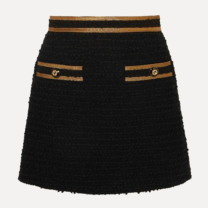 """Metallic-trimmed cotton-blend tweed mini skirt by Gucci, $1680 at [Net-A-Porter](https://fave.co/38q9uic