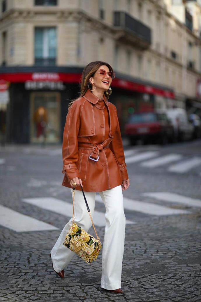 **That '70s show** <br><br> One of fashion's most-loved decades—particularly for the fashion crowd—is making a comeback just in time for the cooler weather. Mirroring the era's burnt oranges and olive hues, prints like argyle and paisley reign supreme. If you opt for full corduroy suiting à la Gabriela Hearst or would rather subtle pepper in pointy collars and flared slacks, an ode to the groovy time period is far from difficult.