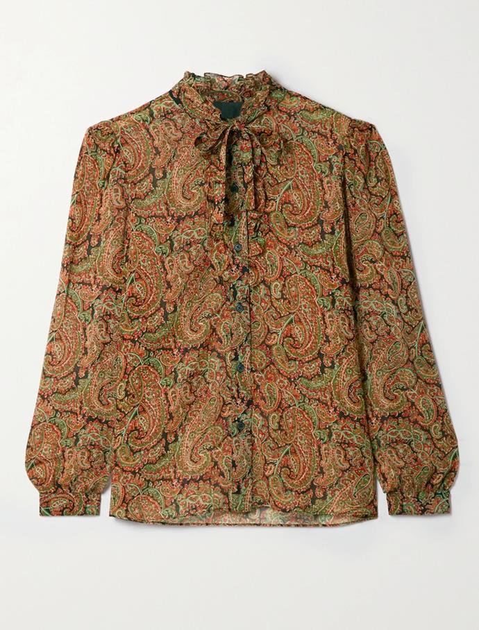 "'Miera' Pussy-bow ruffled paisley-print silk-chiffon shirt by Nini Lotan, $919.38 at [Net-A-Porter](https://go.skimresources.com?id=105419X1569491&xs=1&url=https%3A%2F%2Fwww.net-a-porter.com%2Fen-au%2Fshop%2Fproduct%2Fnili-lotan%2Fclothing%2Fblouses%2Fmiera-pussy-bow-ruffled-paisley-print-silk-chiffon-shirt%2F31432202864841352|target=""_blank""|rel=""nofollow"")."