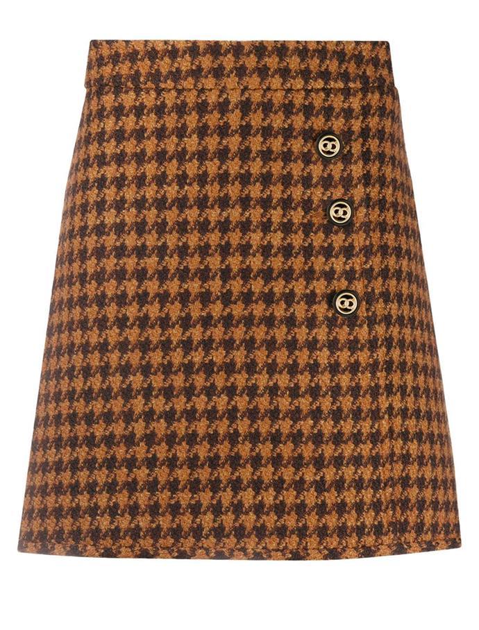 "Houndstooth mini skirt by Sandro Paris, $235 at [Farfetch](https://fave.co/3l8OktT|target=""_blank""|rel=""nofollow"")."